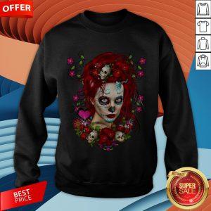 Sugar Doll Red Dia De Muertos T-Sweatshirt