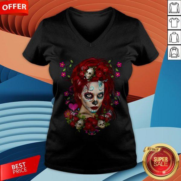 Sugar Doll Red Dia De Muertos T-V-neck