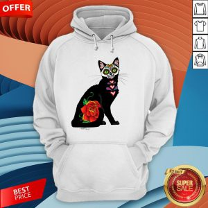 Sugar Skull Cat With Rose Day Of The Dead Hoodie