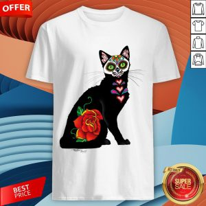 Sugar Skull Cat With Rose Day Of The Dead Shirt
