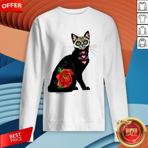 Sugar Skull Cat With Rose Day Of The Dead Sweatshirt