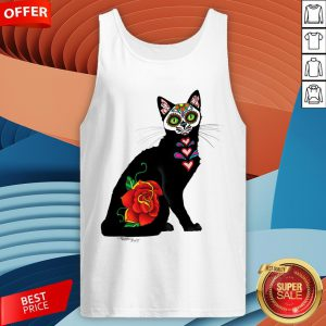 Sugar Skull Cat With Rose Day Of The Dead Tank Top