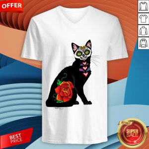 Sugar Skull Cat With Rose Day Of The Dead V-neckSugar Skull Cat With Rose Day Of The Dead V-neck