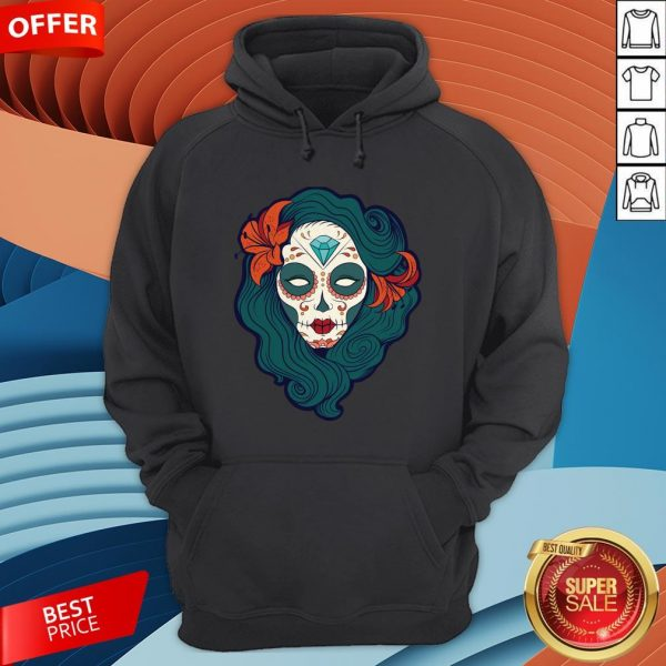 Sugar Skull Girl Day Of The Dead Dia De Muertos Hoodie