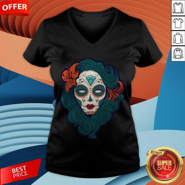 Sugar Skull Girl Day Of The Dead Dia De Muertos V-neck