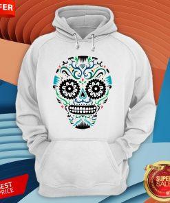 Sugar Skull SF Multi Om White Day Dead Dia De Muertos Hoodie