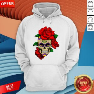 Sugar Skull With Rose Day Of The Dead Dia De Muertos Hoodie