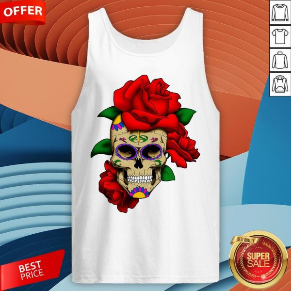 Sugar Skull With Rose Day Of The Dead Dia De Muertos Tank Top