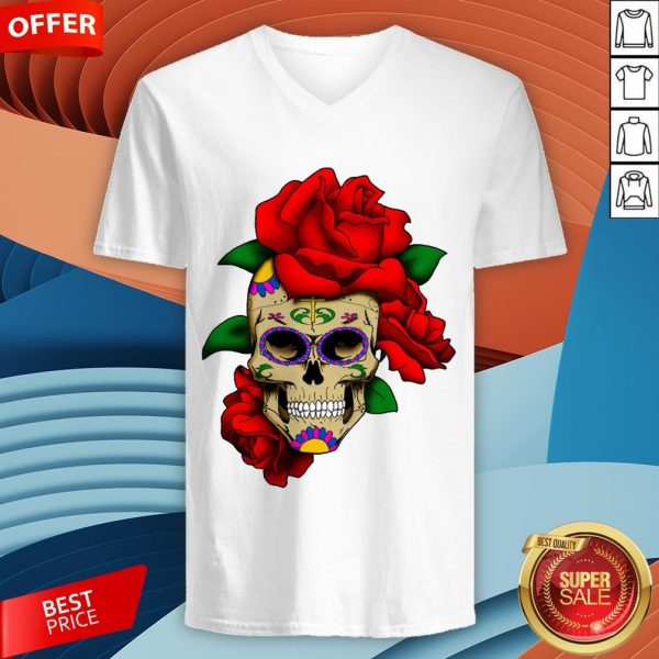 Sugar Skull With Rose Day Of The Dead Dia De Muertos V-neck