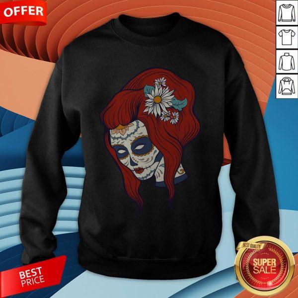 Sugar Skull Woman Day Of Dead Dia De Los Muertos Sweatshirt