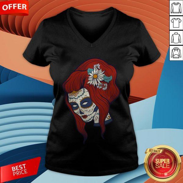 Sugar Skull Woman Day Of Dead Dia De Los Muertos V-neck