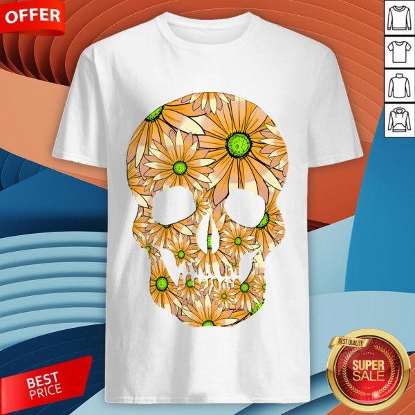 Summer Peach Sugar Skull Day Of The Dead Shirt
