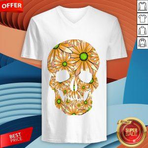 Summer Peach Sugar Skull Day Of The Dead V-neck