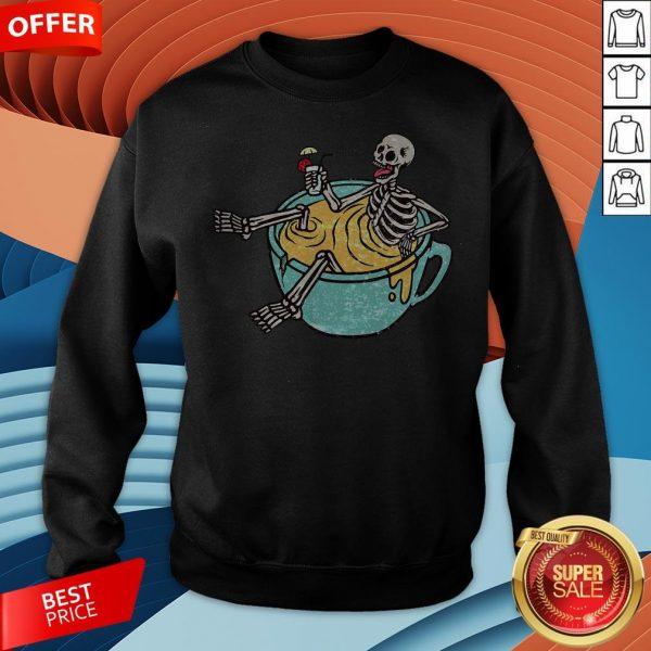 Skeleton Drinking Coffee Dia De Los Muertos Day Dead Halloween Sweatshirt