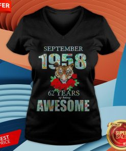 Tiger September 1958 62 Years Of Being Awesome V-neck