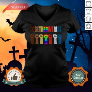 We Rise Together All Lives Matter Hands Symbol LGBT V-neck