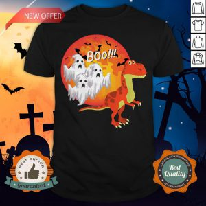Dinosaur T-Rex Chased Ghosts Halloween Shirt