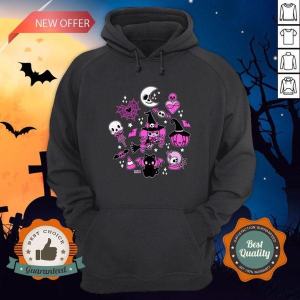 Halloween Doodle Vintage Witchy Magical Pastel Goth Pink Hoodie