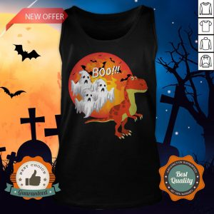 Dinosaur T-Rex Chased Ghosts Halloween Tank Top