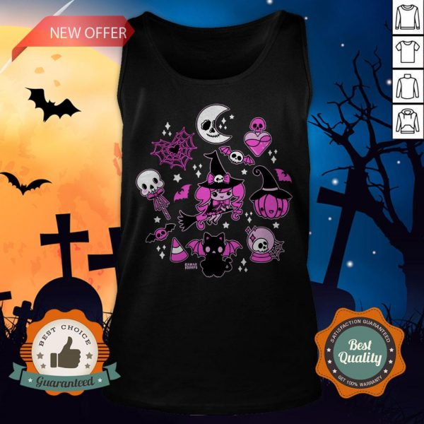 Halloween Doodle Vintage Witchy Magical Pastel Goth Pink Tank Top