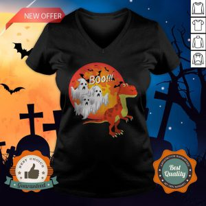 Dinosaur T-Rex Chased Ghosts Halloween V-neck