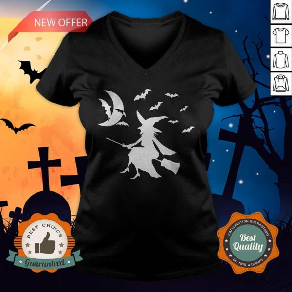Happy Halloween Day Bats Witch V-neck