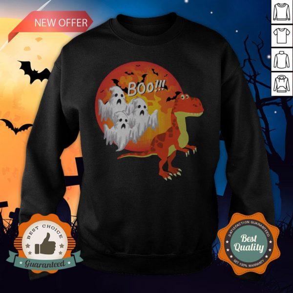 Dinosaur T-Rex Chased Ghosts Halloween Sweatshirt