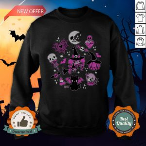 Halloween Doodle Vintage Witchy Magical Pastel Goth Pink Sweatshirt