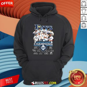 Funny 2020 American League Champions Tampa Bay Rays Signatures Hoodie-Design By Rulestee.com
