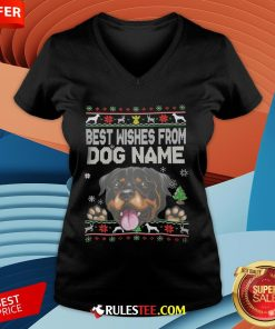 Good Best Wishes From Dog Name Christmas V-neck-Design By Rulestee.com