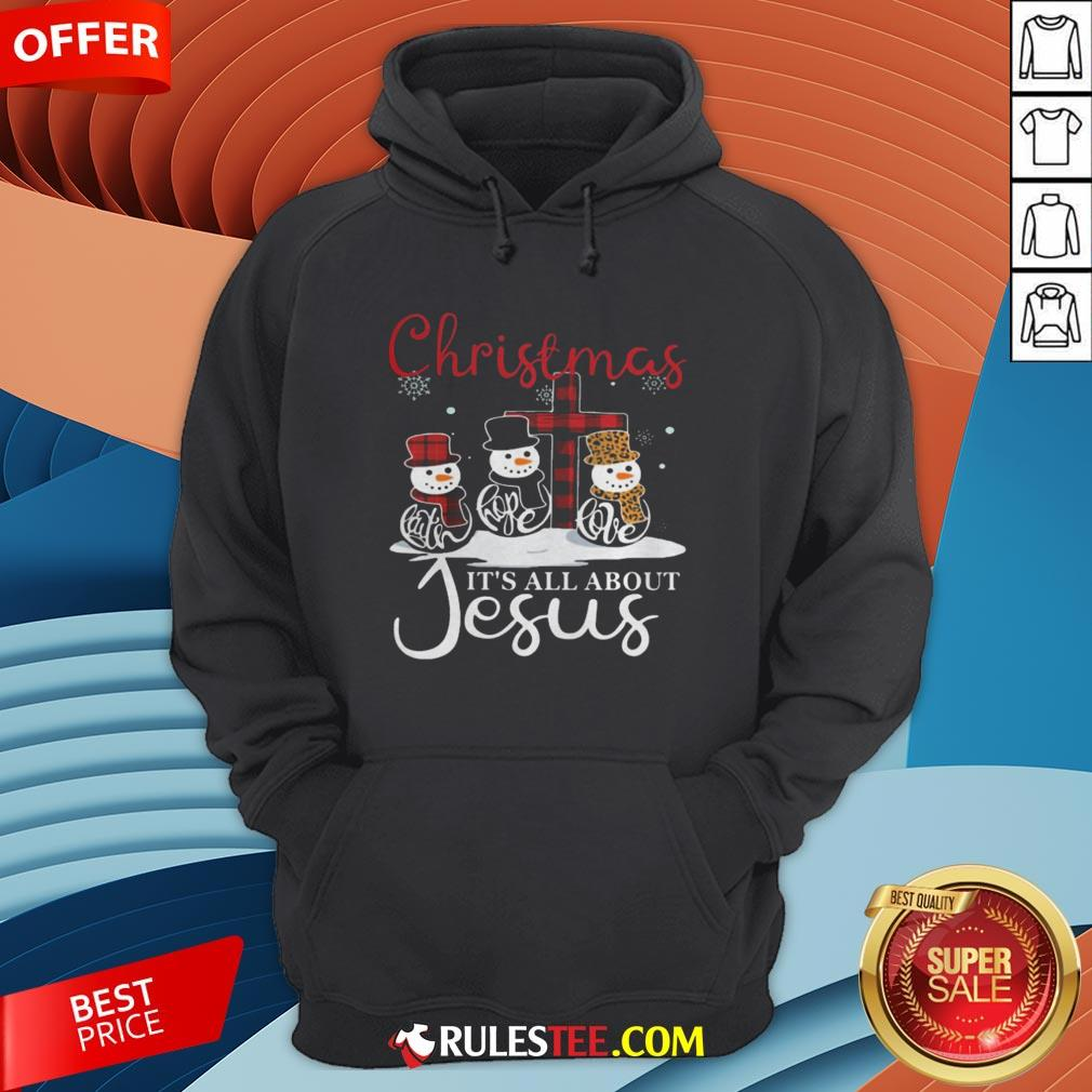 Pretty Snowman Christmas It's All About Jesus Hoodie - Design By Rulestee.com