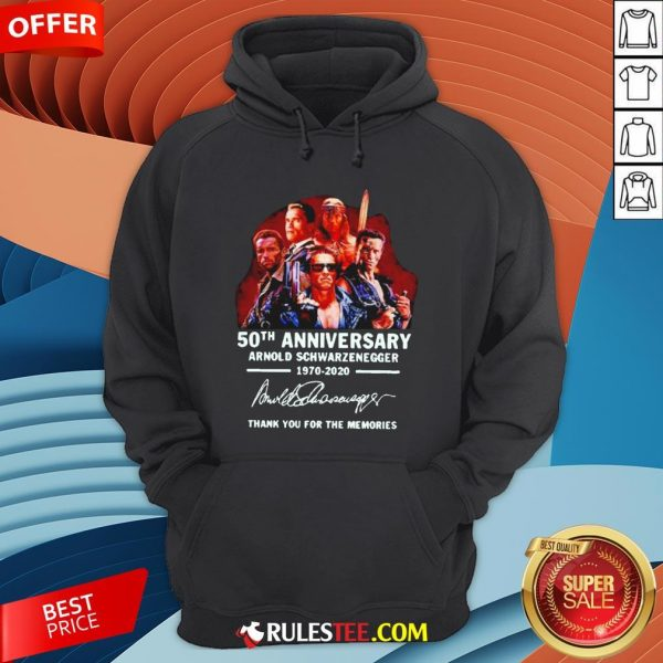 Arnold Schwarzenegger 50th Anniversary Thank You For The Memories Hoodie - Design By Rulestee.com