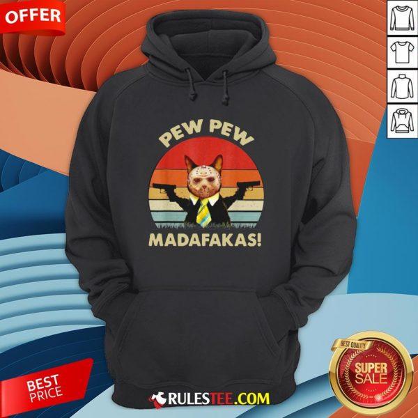 Cat Jason Voorhees Pew Pew Madafakas Vintage Retro Hoodie - Design By Rulestee.com
