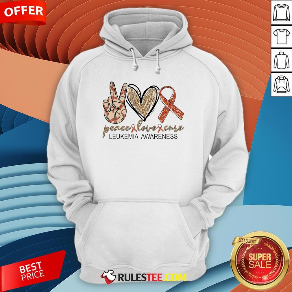 Peace Love Cure Leukemia Awareness Diamond Hoodie - Design By Rulestee.com