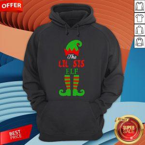 Cute The Lil Sis Elf Christmas Hoodie