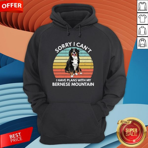 I Just Wanna Drink Wine And Pet My Bernese Mountain Vintage Retro Hoodie