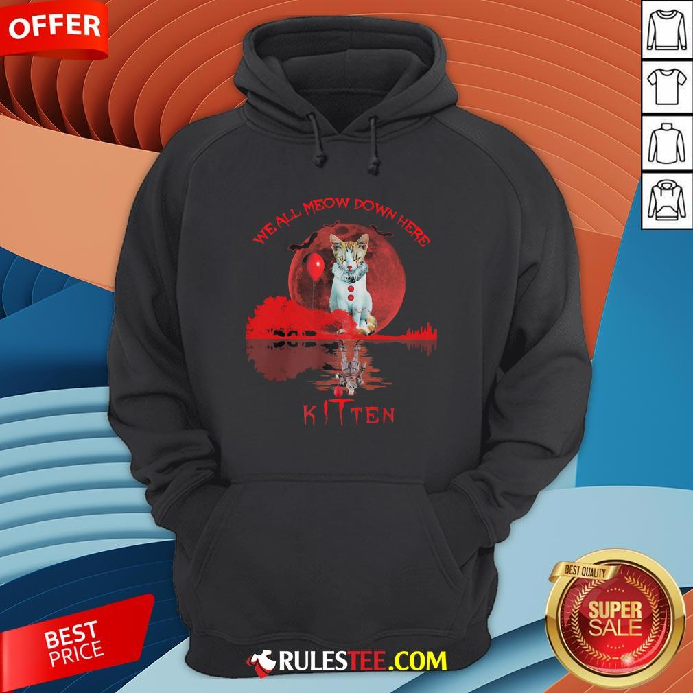 We All Meow Down Here Clown Cat Pennywise Kitten Moon Blood Halloween Hoodie - Design By Rulestee.com
