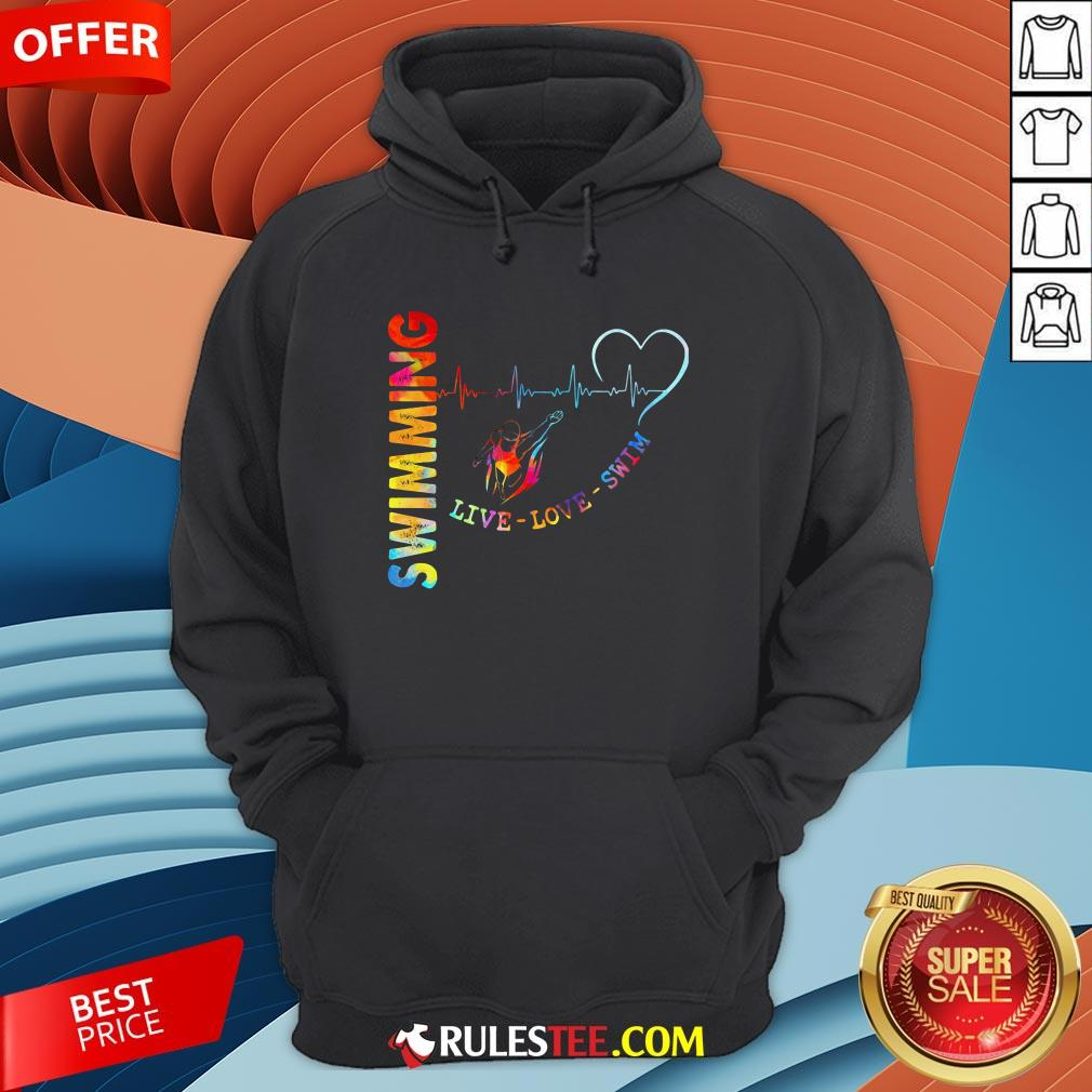 Colorful Swimming Live Love Swin Heart Beat Hoodie - Design By Rulestee.com