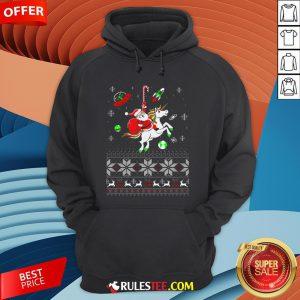 Colorful Santa Unicorn Ugly Christmas Hoodie - Design By Rulestee.com