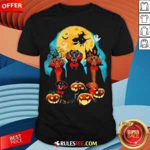 Dachshund Dracula Pumpkin Moonlight Happy Halloween Shirt - Design By Rulestee.com