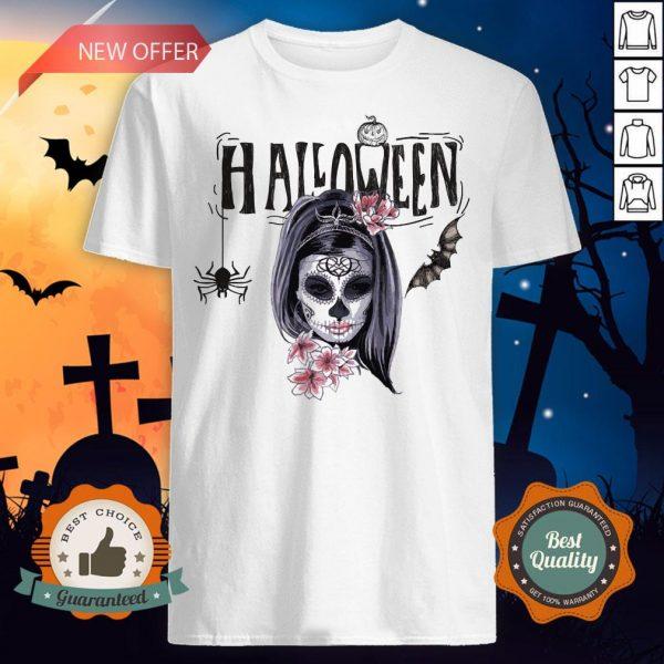 Halloween Sugar Skull Girl Day Of Dead Muertos Shirt