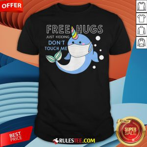 Free Hugs Just Kidding Don't Touch Me Unicorn Narwhal Mask Shirt - Design By Rulestee.com
