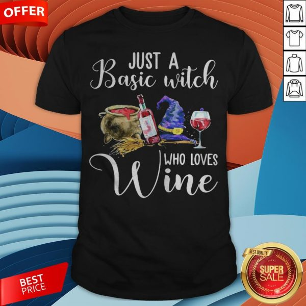 Official Just A Basic Witch Who Loves Wine Shirt
