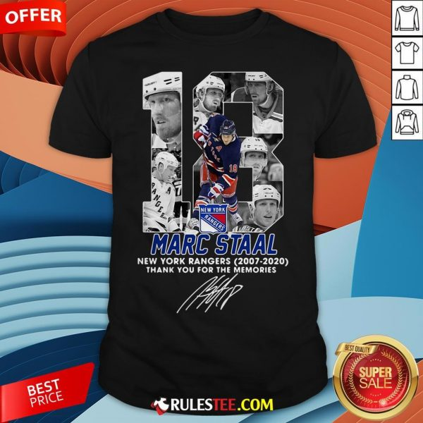 18 Marc Staal New York Rangers 2007 2020 Thank You For The Memories Signature Shirt - Design By Rulestee.com