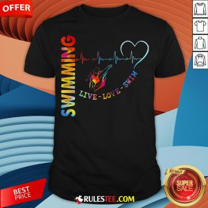 Colorful Swimming Live Love Swin Heart Beat Shirt - Design By Rulestee.com