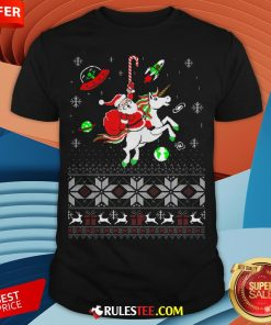 Colorful Santa Unicorn Ugly Christmas Shirt - Design By Rulestee.com