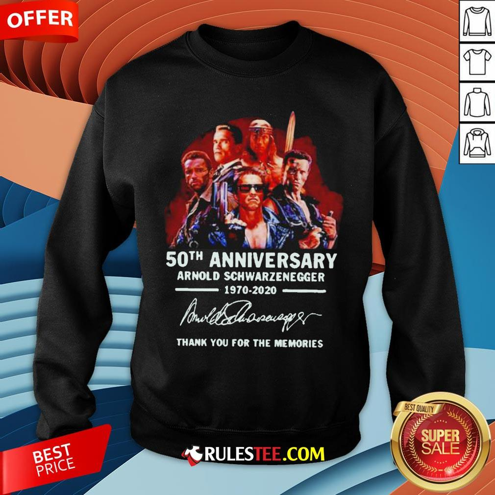 Arnold Schwarzenegger 50th Anniversary Thank You For The Memories Sweatshirt - Design By Rulestee.com