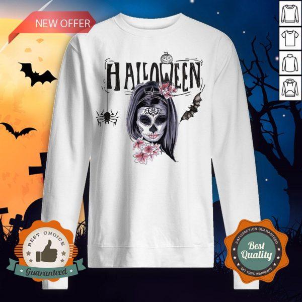 Halloween Sugar Skull Girl Day Of Dead Muertos Sweatshirt