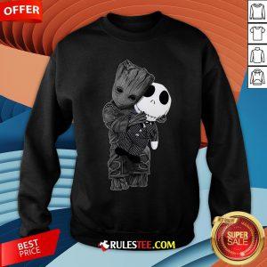 Cute Baby Groot Hug Jack Skellington Sweatshirt - Design By Rulestee.com