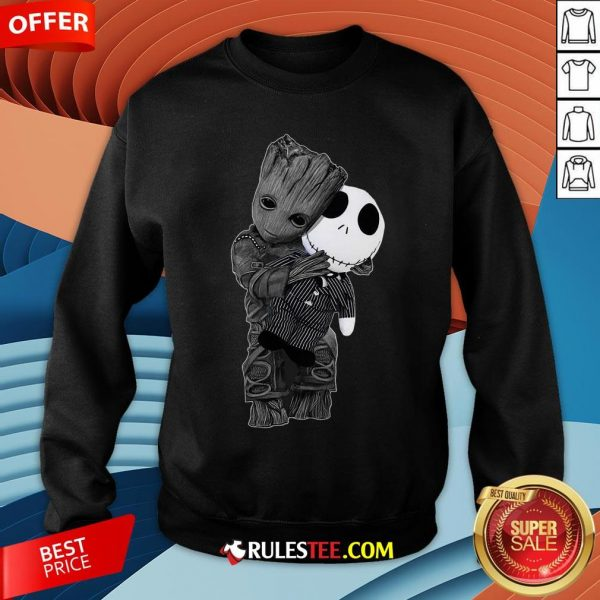 Cute Baby Groot Hug Jack Skellington Sweatshirt - Design By Rulestee.com